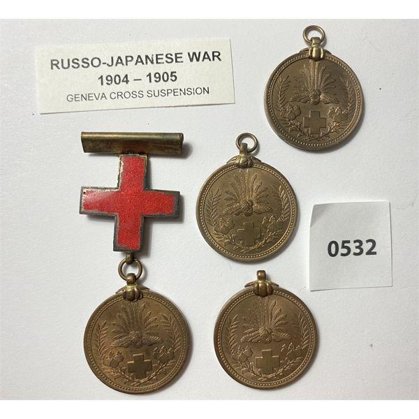 LOT OF 4 - RUSSO-JAPANESE WAR MEDALS - 1904/05 - INCL GENEVA CROSS SUSPENSION