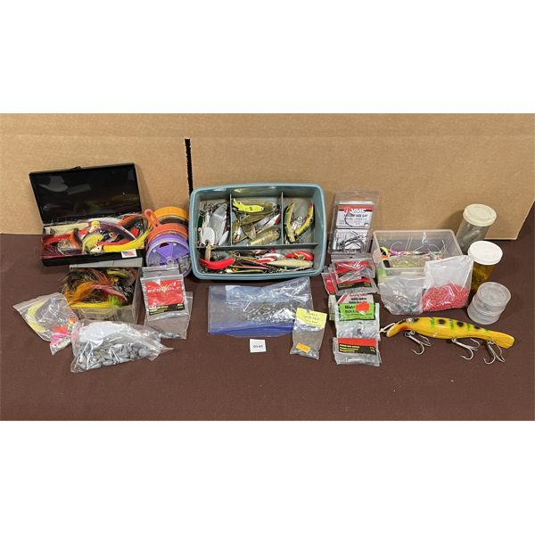 JOB LOT - MISC FISHING LURES, WEIGHTS, ACCESSORIES, ETC