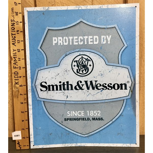 SMITH AND WESSON TIN SIGN - 12 X 16