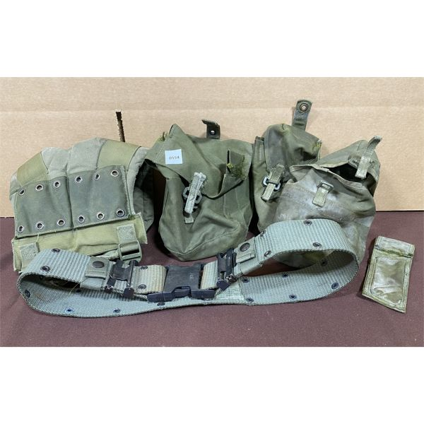LOT OF 5 - MILITARY ACCESSORIES - 34 INCH BELT & POUCHES