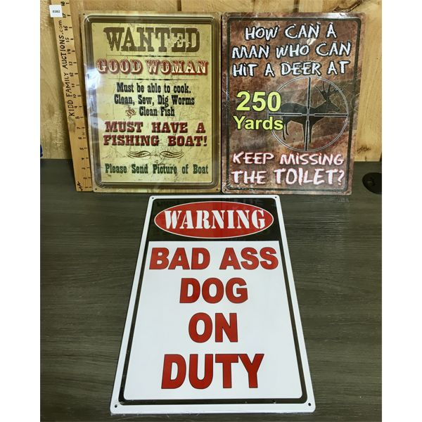 LOT OF 3 - TIN SIGNS - 12 X 17