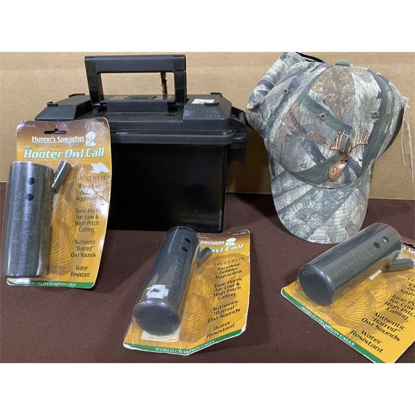 LOT OF 5 - OWL CALLS & PLASTIC AMMO BOX & HAT - NEW