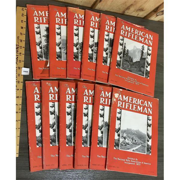 LOT OF 12 - AMERICAN RIFLEMAN MAGAZINES - 1937