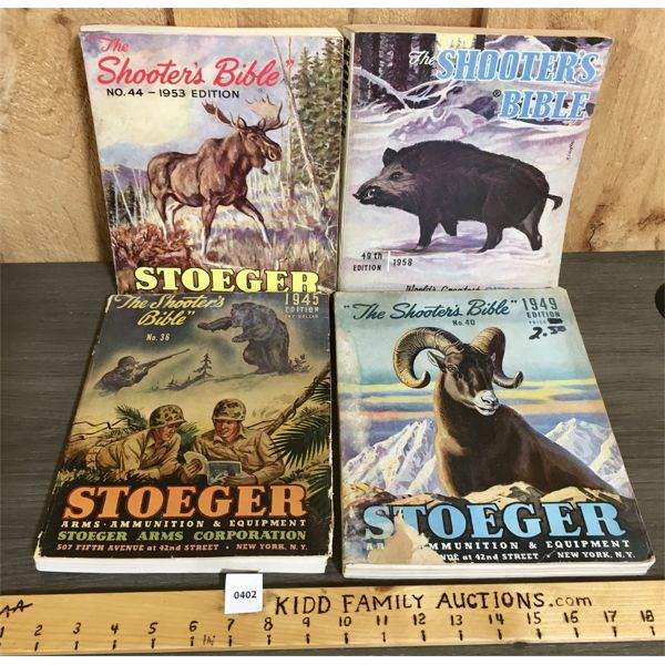 """LOT OF 4 - STOEGER """"THE SHOOTER BIBLE"""" PUBLICATIONS - 1945, 49, 53, 58"""