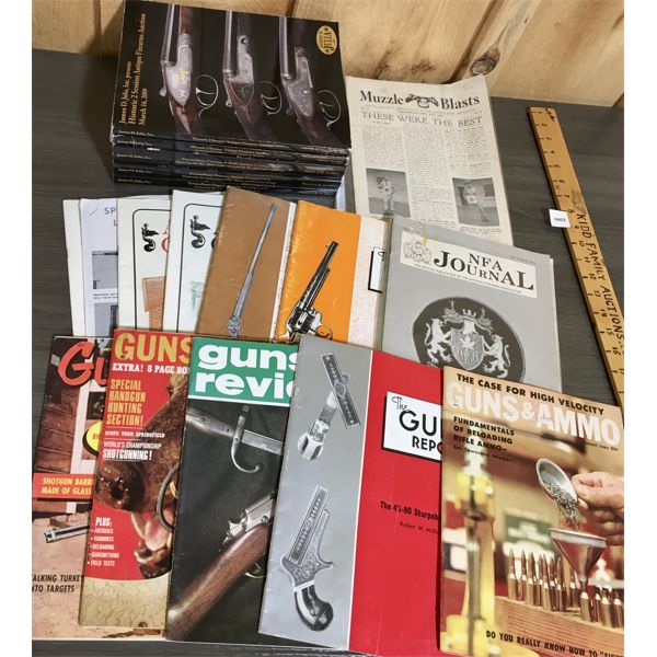 QTY OF VINTAGE GUN MAGAZINES AND AUCTION CATALOGS