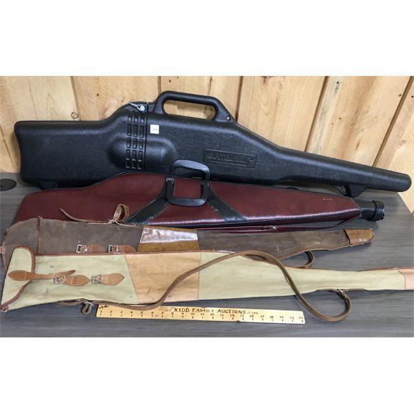 LOT OF 4 - HARD GUN CASE AND 3 SOFT GUN CASES