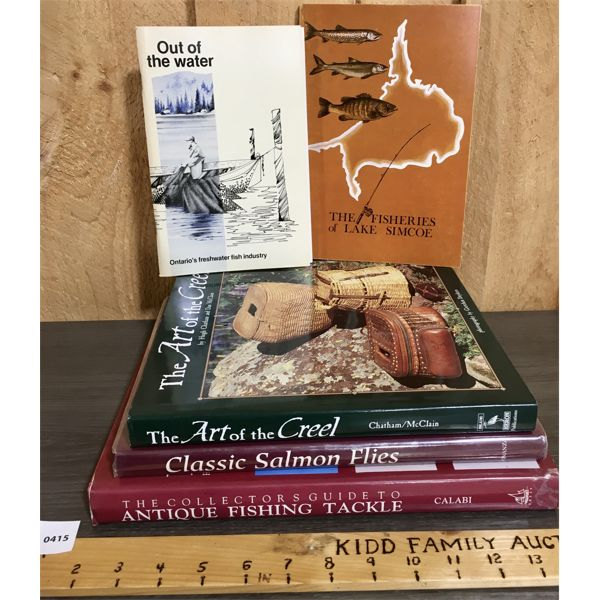 """LOT OF 5 - ONTARIO FISHERIES CATALOUGS, """"THE ART OF CREEL"""" BOOK AND TACKLE BOOKS"""