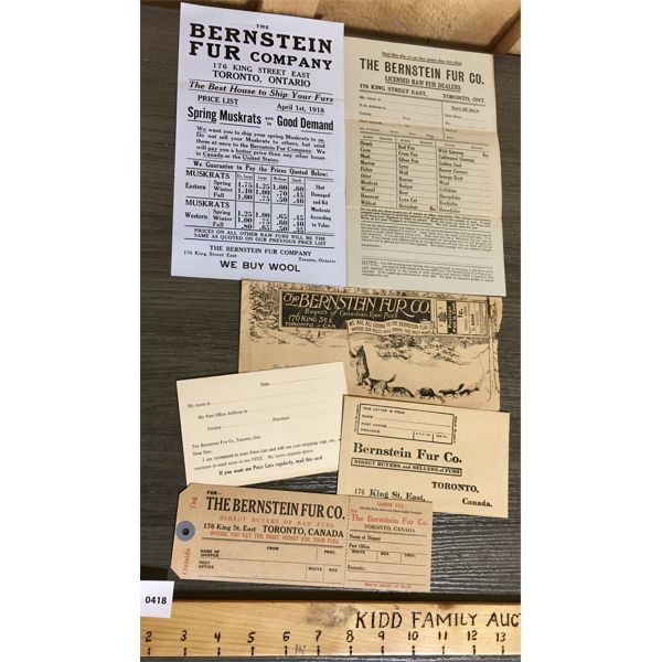 "LOT OF 6 - BERNSTEIN FUR COMPANY 1918 ""SELLERS PACKAGE"""