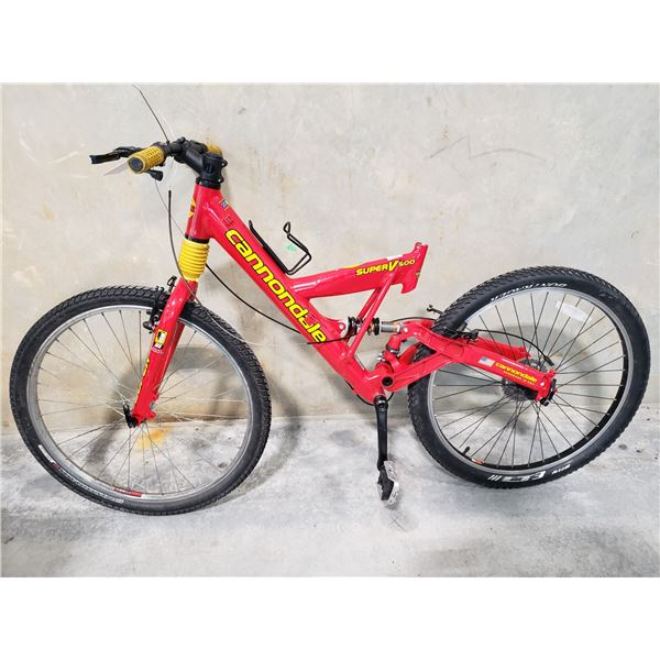 """RED CANNONDALE SUPERV500, 7 SPEED, 16"""" FRAME  FULL SUSPENSION MOUNTAIN BIKE"""