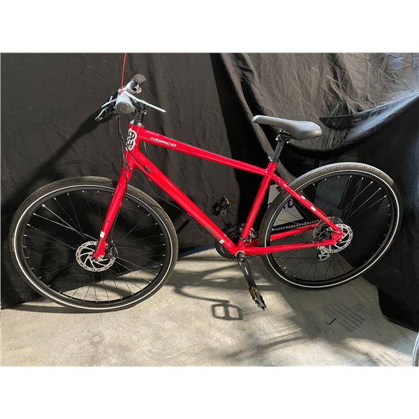 RED NORCO INDIE 3 MEDIUM, 24 SPEED HYBRID STYLE BIKE WITH FULL DISC BRAKES