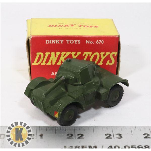 #53  BOXED DINKY TOYS #670 ARMOURED CAR MILITARY