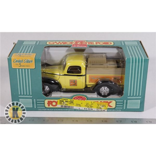 #114  BOXED  1940 CAMIONNETTE FORD COIN BANK HOME