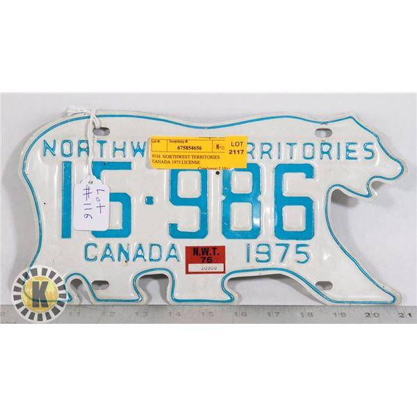 #116  NORTHWEST TERRITORIES CANADA 1975 LICENSE