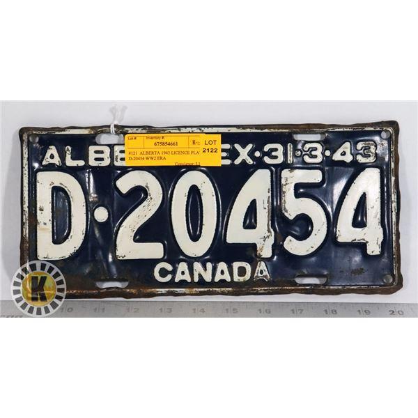 #121  ALBERTA 1943 LICENCE PLATE D-20454 WW2 ERA