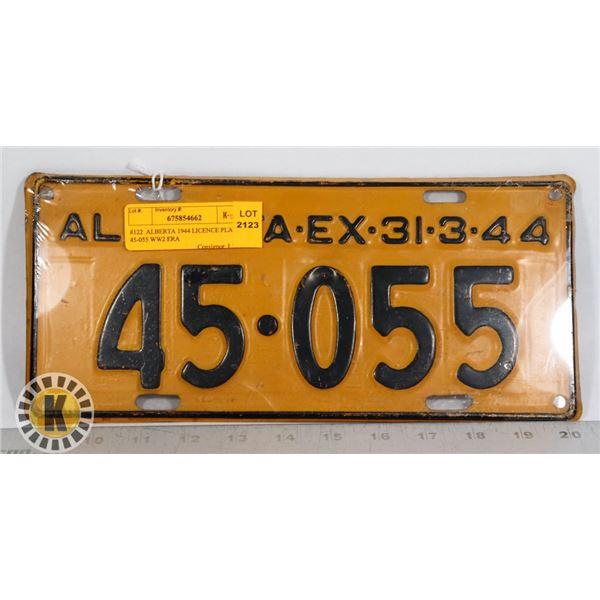 #122  ALBERTA 1944 LICENCE PLATE 45-055 WW2 ERA