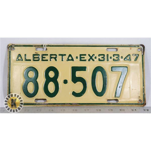 #123  ALBERTA 1947 LICENCE PLATE 88-507 , GOOD