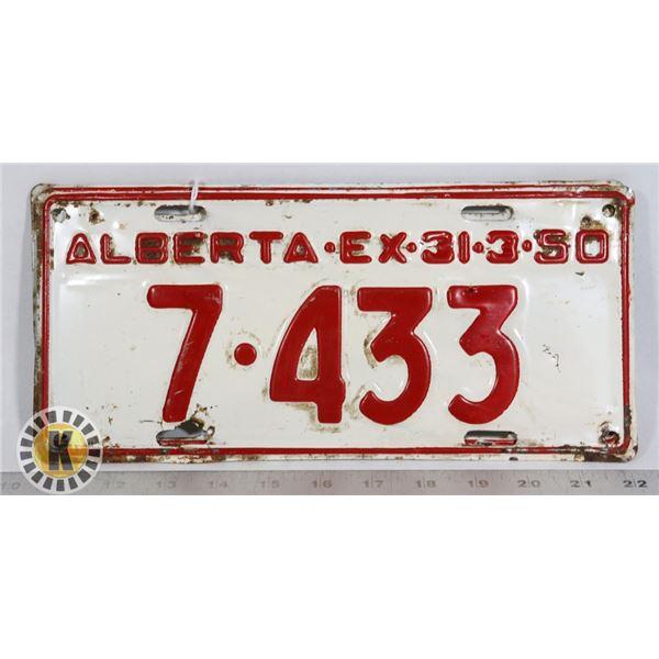 #125  MATCHING PAIR OF ALBERTA 1950 LICENCE PLATES
