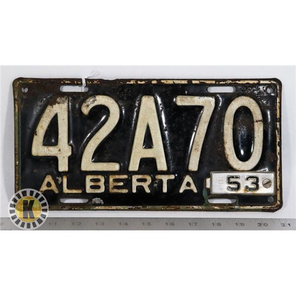 """#127  ALBERTA 1953 LICENCE PLATE WITH ADDED """"1953"""