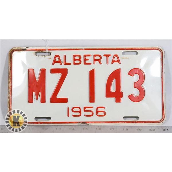 #129  ALBERTA 1956 LICENCE PLATE MZ 143 CANADA