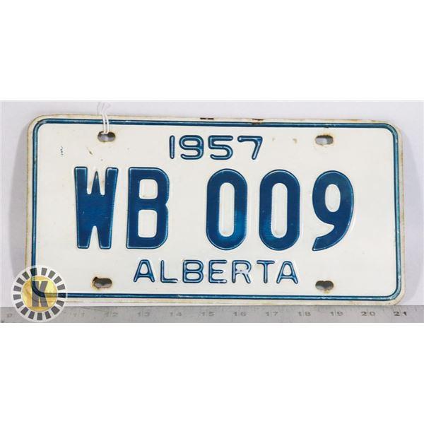 #130  ALBERTA 1957 LICENCE PLATE WB 009 CANADA