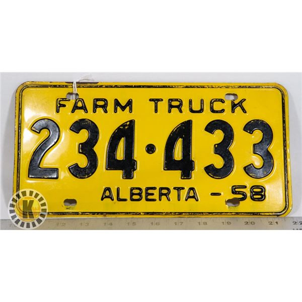 #131  ALBERTA FARM TRUCK 1958 LICENCE PLATE 234-4
