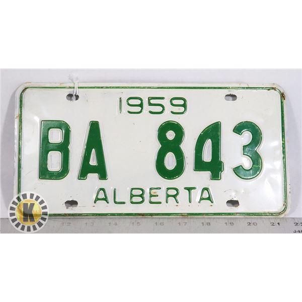 #132  ALBERTA 1959 LICENCE PLATE BA 843 CANADA