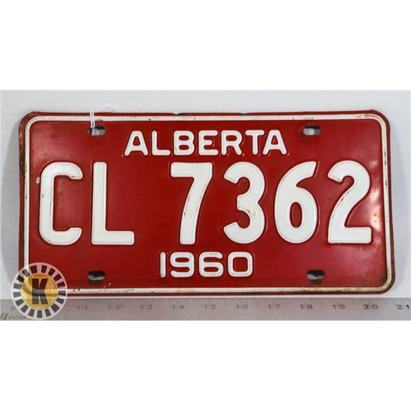 #133  ALBERTA 1960 LICENCE PLATE CL 7362 CANADA