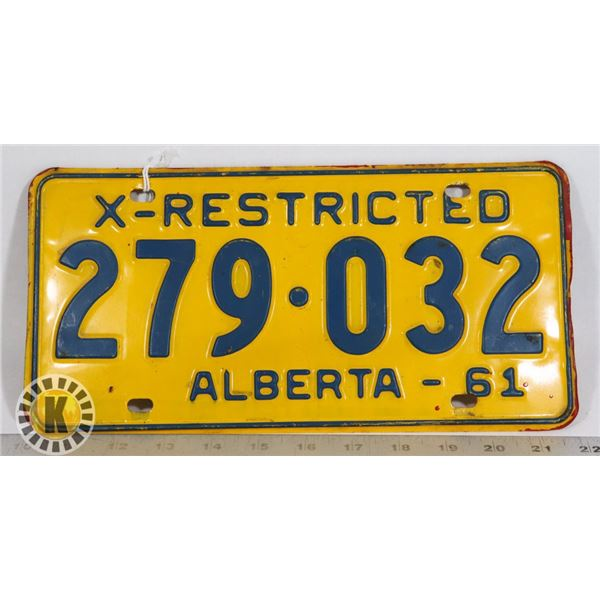 #134  ALBERTA X-RESTRICTED 1961 LICENCE PLATE 279