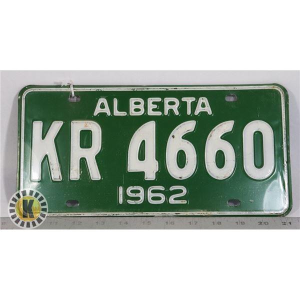 #135  ALBERTA 1962 LICENCE PLATE KR 4660 CANADA