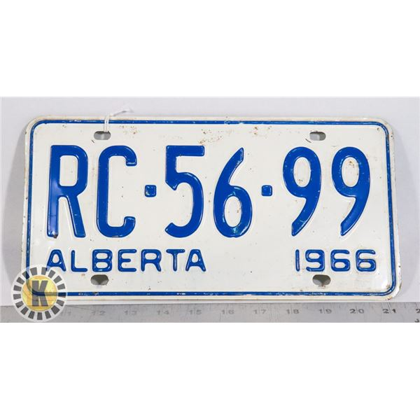#138  ALBERTA 1966 LICENCE PLATE RC-56-99 CANADA