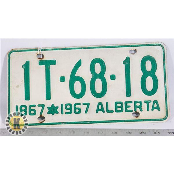 #139  ALBERTA 1867-1967 CENTENNIAL LICENE PLATE 1