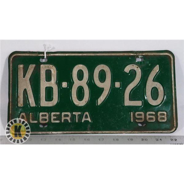 #140  ALBERTA 1968 LICENCE PLATE KB-89-26 CANADA