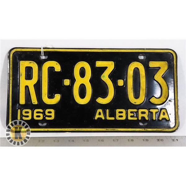 #141  ALBERTA 1969 LICENCE PLATE RC-83-03 CANADA