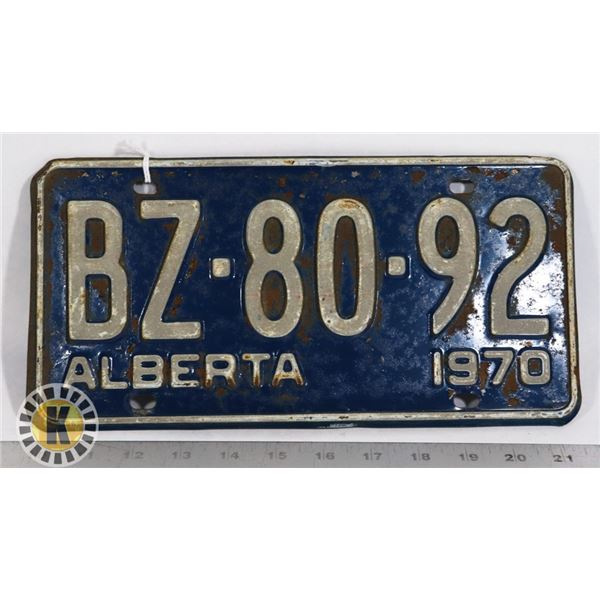 #142  ALBERTA 1970 LICENCE PLATE BZ-80-92 CANADA