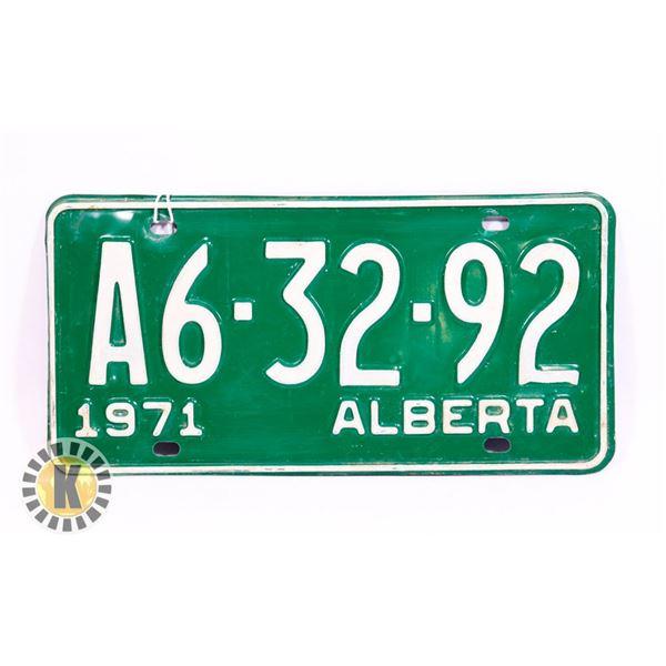 #143  ALBERTA 1971 LICENCE PLATE A6-32-92 CANADA