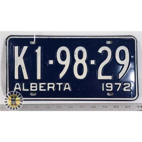 #144  ALBERTA 1972 LICENCE PLATE K1-98-29 CANADA
