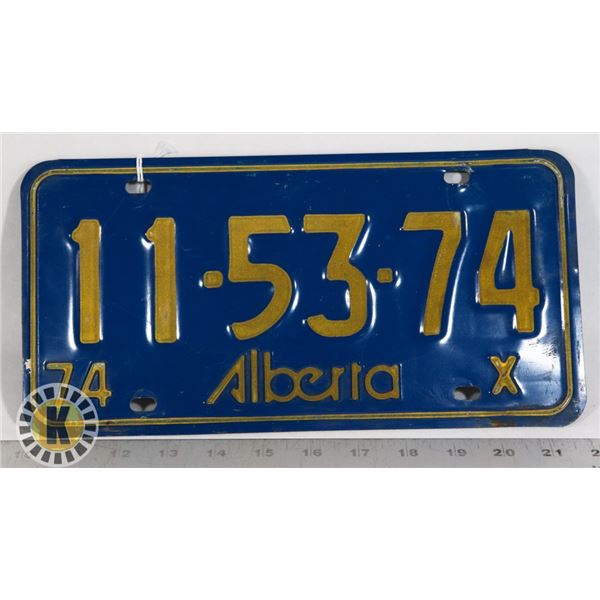 #146  ALBERTA 1974 LICENCE PLATE 11-53-73 CANADA