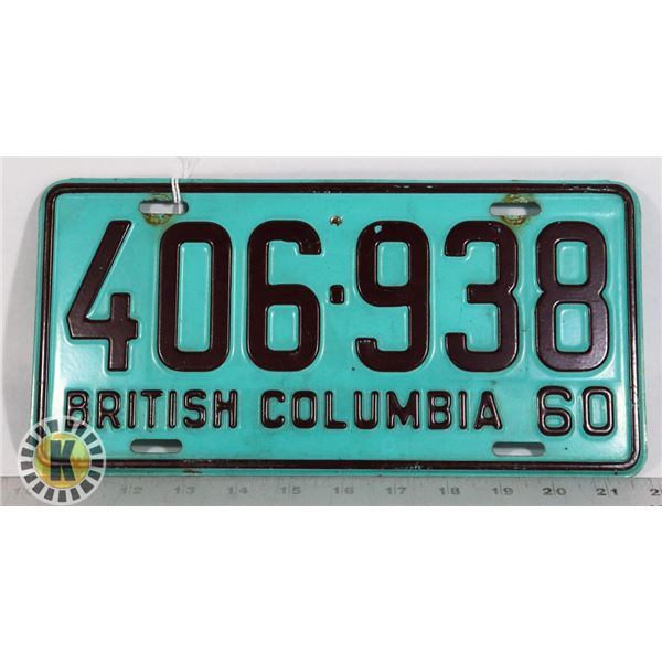 #150  BRITISH COLUMBIA B.C. 1960 LICENCE PLATE