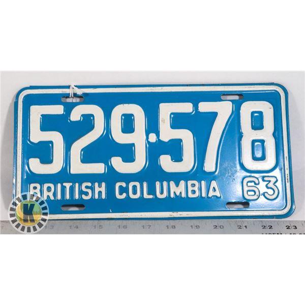 #151   BRITISH COLUMBIA B.C. 1963 LICENCE PLATE