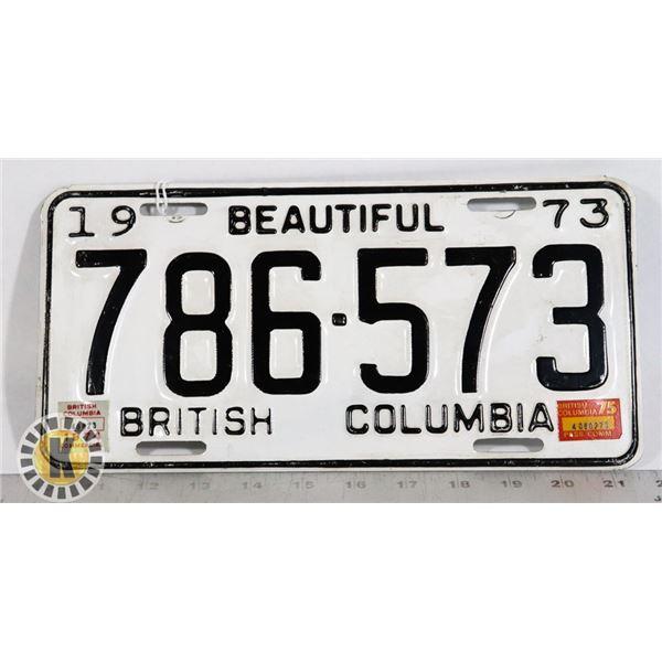 #152  BRITISH COLUMBIA B.C. 1973 LICENCE PLATE