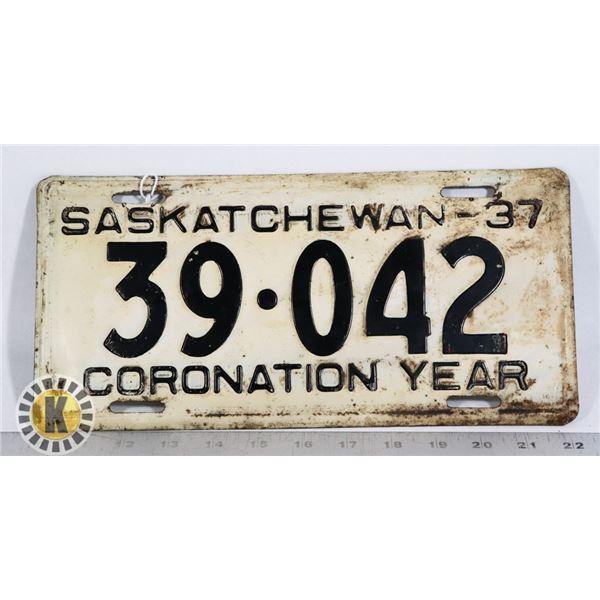 #155 SASKATCHEWAN 1937 CORONATION YEAR LICENCE