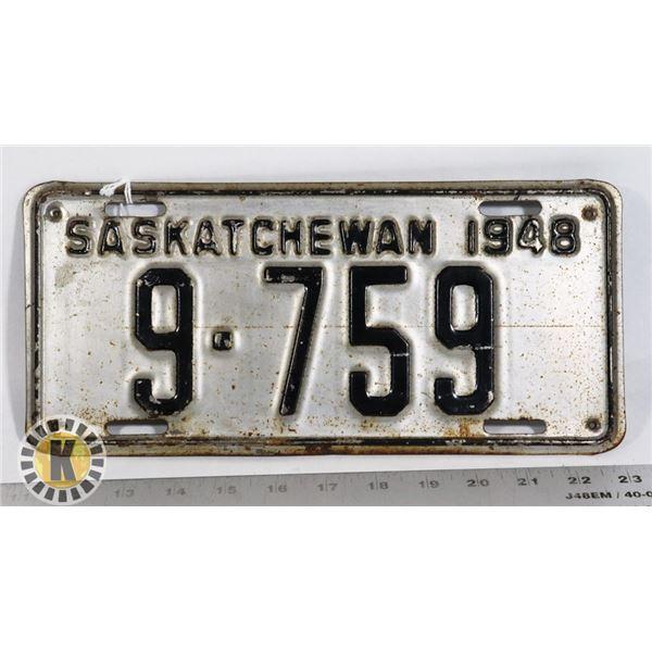 #156 SASKATCHEWAN 1948 LICENCE PLATE 9-759 CANADA