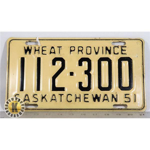 "#157 SASKATCHEWAN 1951 LICENCE PLATE ""WHEAT"