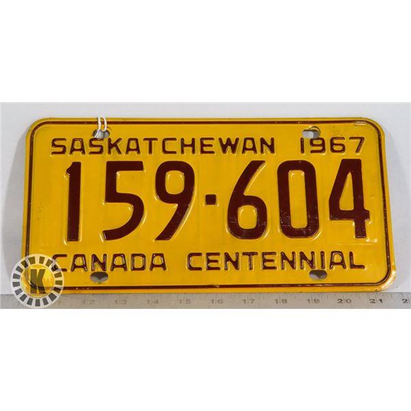 """#160 SASKATCHEWAN 1967 """"CANADA CENTENNIAL"""" LICEN"""