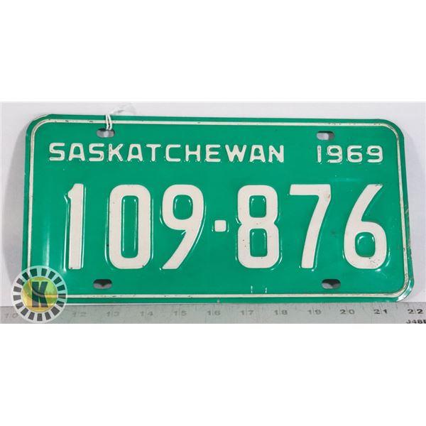 #161 SASKATCHEWAN 1969 LICENCE PLATE 109-876