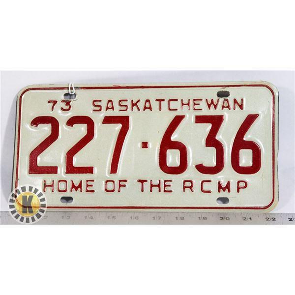 "#163 SASKATCHEWAN 1973 ""HOME OF THE RCMP"" LICENC"