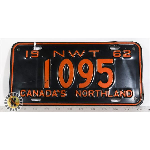 #165 RARE NWT NORTH WEST TERRITORIES 1962 LICENCE