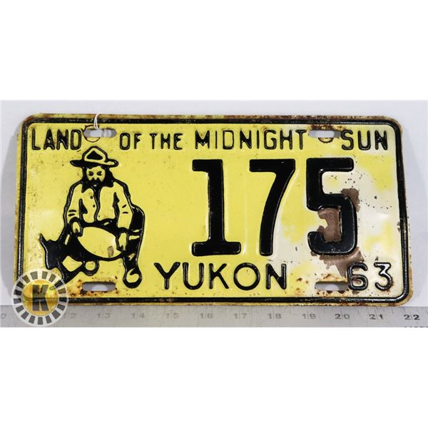 """#166 YUKON 1963 LICENCE PLATE 175 """"LAND OF THE"""