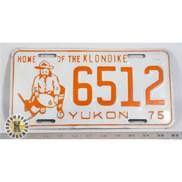 """#167 YUKON 1975 LICENCE PLATE 6512 """"HOME OF THE"""