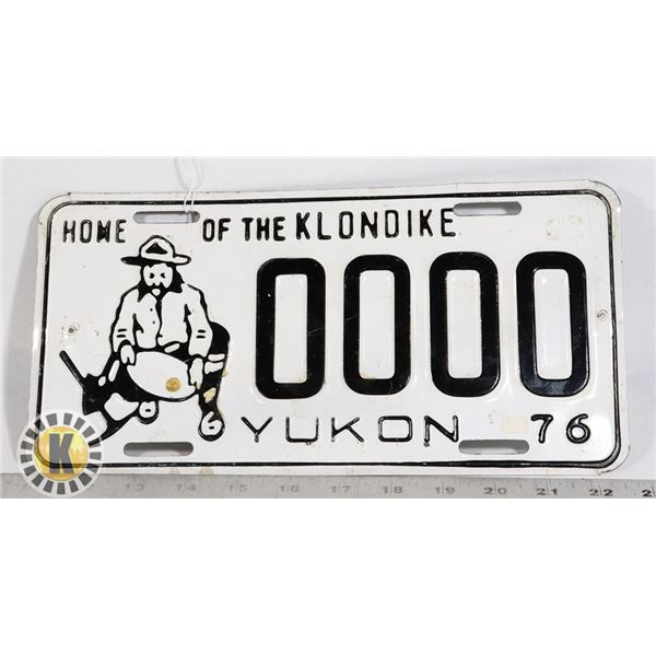 #168 SAMPLE PLATE YUKON 1976 LICENCE PLATE 0000